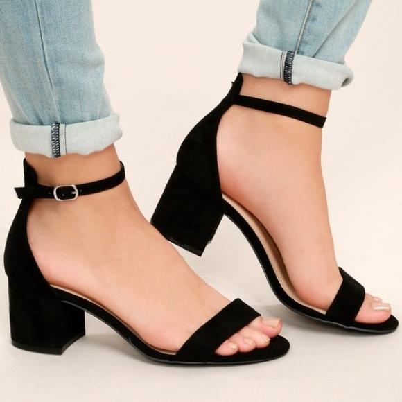 21604250493 Lulu's Harper Black Suede Ankle Strap Block Heels